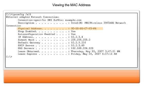 Ipconfig viewing mac address